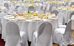 Wedding white reception place is ready