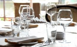 Glasses served on table in restaurant